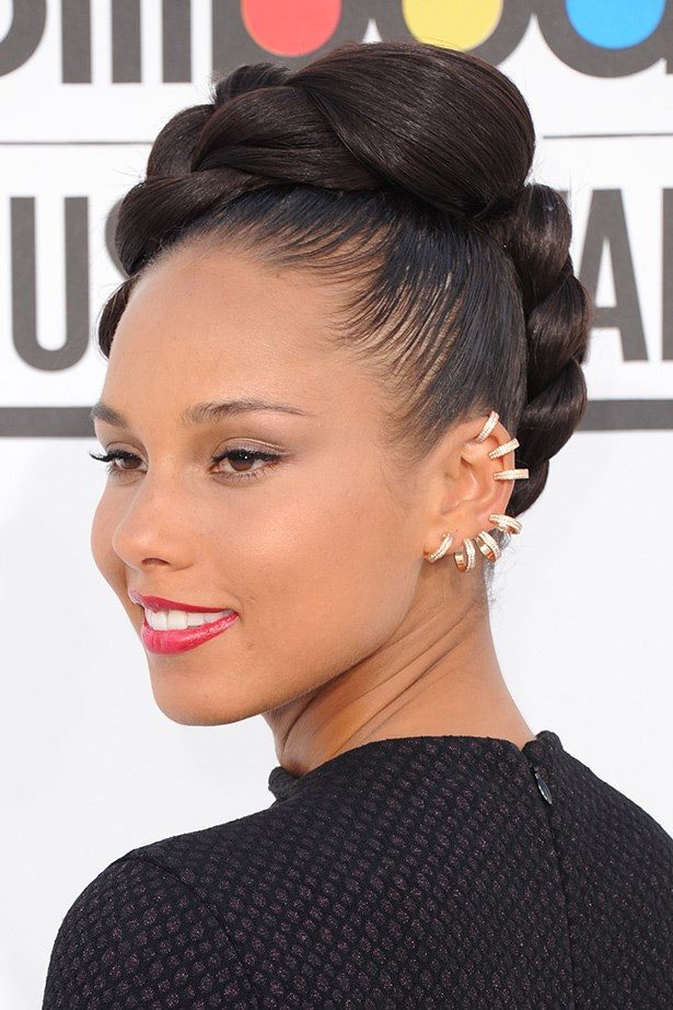 Alicia Keys makes a statement with her double dose of Repossi crystal ear cuffs.