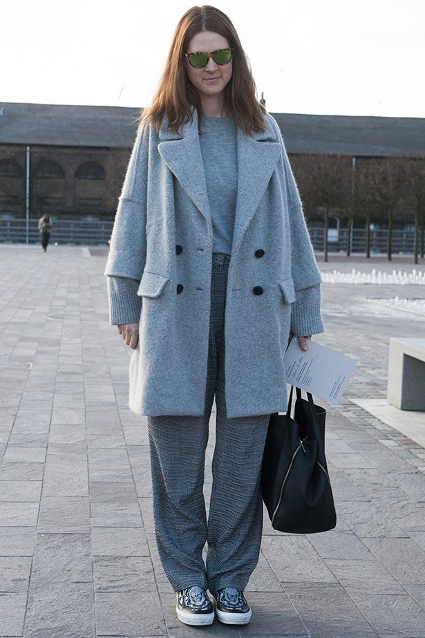 All grey, everything. Relaxed dressing with a Meg Ryan 90s rom-com vibe.
