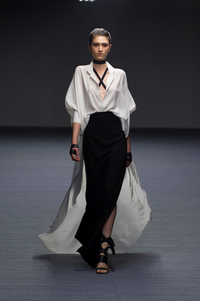 A beautiful draped look at Carla Zampatti SS14 <br> <br> Photography: Ken Butti <br><br>