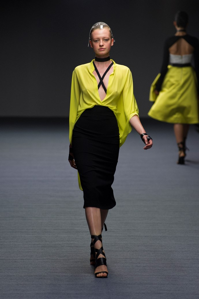 A black and chartreuse look at Carla Zampatti SS14  <br> <br> Photography: Ken Butti <br><br>