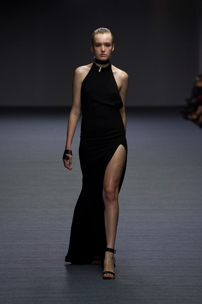 High necks and thigh splits at Carla Zampatti SS14 <br> <br> Photography: Ken Butti <br><br>