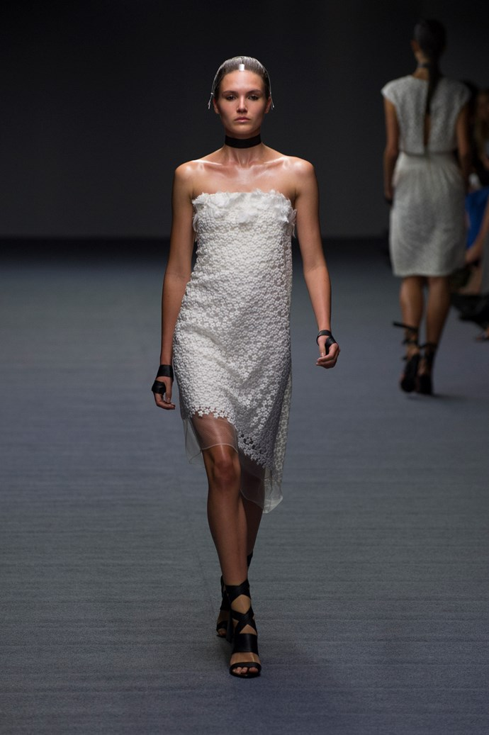 A chic column dress for summer at Carla Zampatti SS14 <br> <br> Photography: Ken Butti <br><br>
