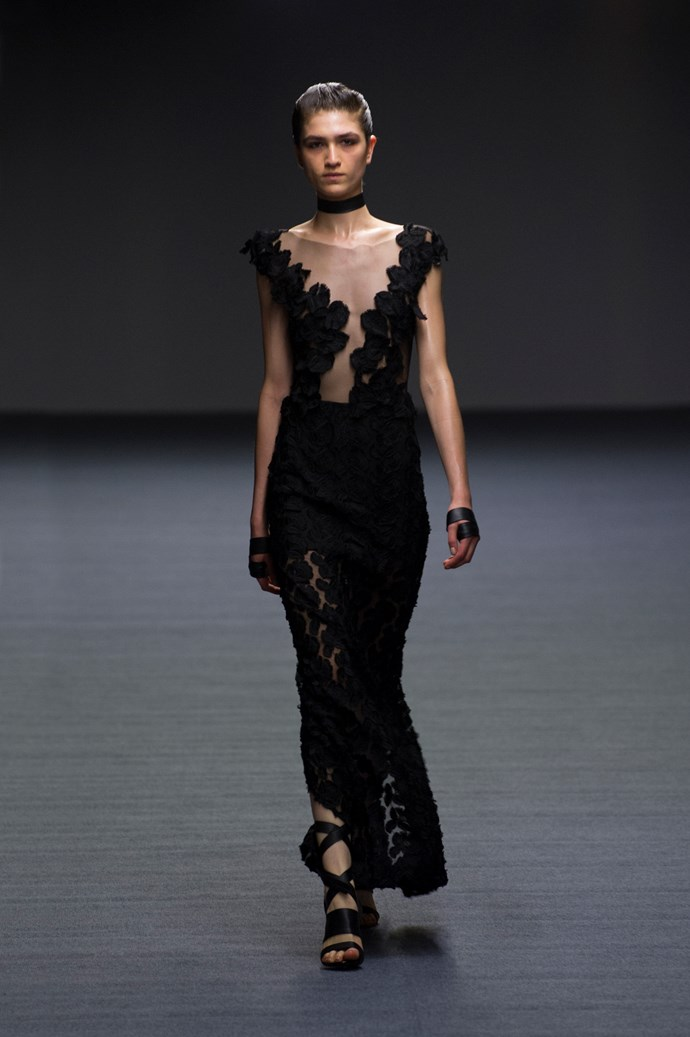 Elegant, yet sultry necklines at Carla Zampatti SS14 <br> <br> Photography: Ken Butti <br><br>