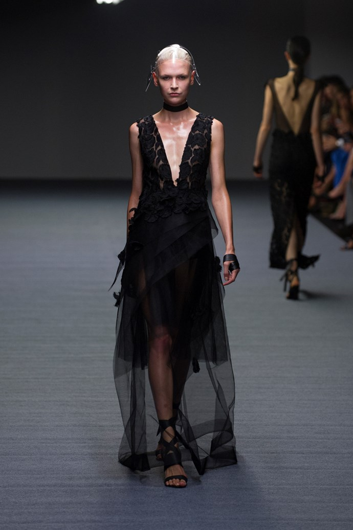 Sheer drop hems at Carla Zampatti SS14 <br> <br> Photography: Ken Butti <br><br>