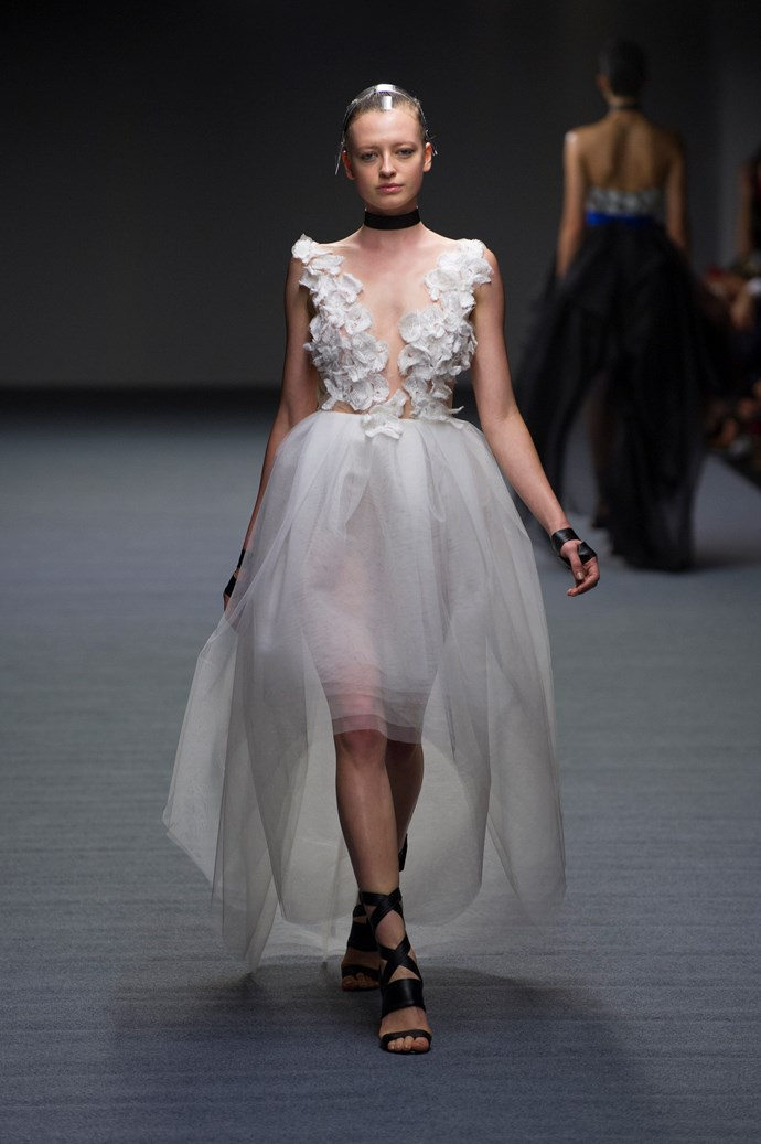 A white textured gown at Carla Zampatti SS14 <br> <br> Photography: Ken Butti <br><br>