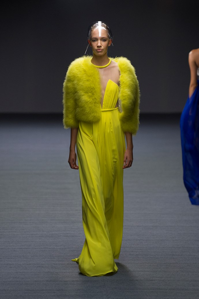 A chartreuse look at Carla Zampatti SS14 <br> <br> Photography: Ken Butti <br><br>