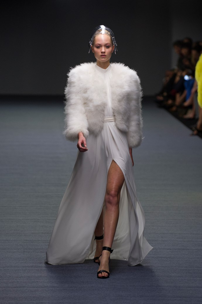 Thigh-high splits and white fur jackets at Carla Zampatti SS14 <br> <br> Photography: Ken Butti <br><br>