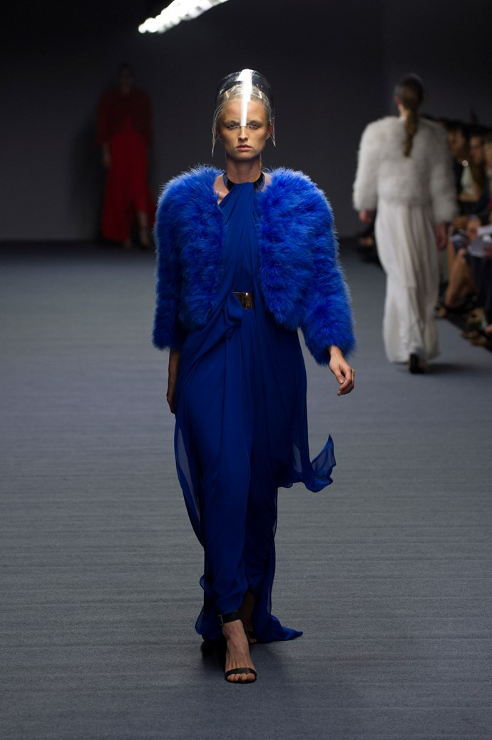Cobalt fur coats at Carla Zampatti SS14 <br> <br> Photography: Ken Butti <br><br>