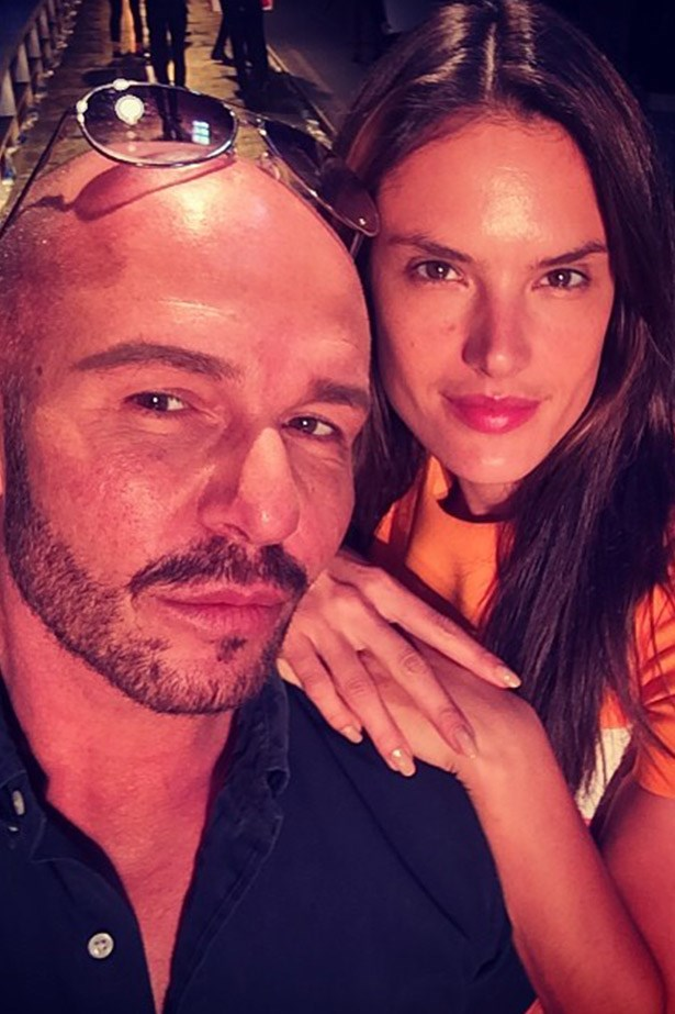 Just an hour to go 'til showtime: Alex Perry and Alessandra Ambrosio via Alex's Instagram