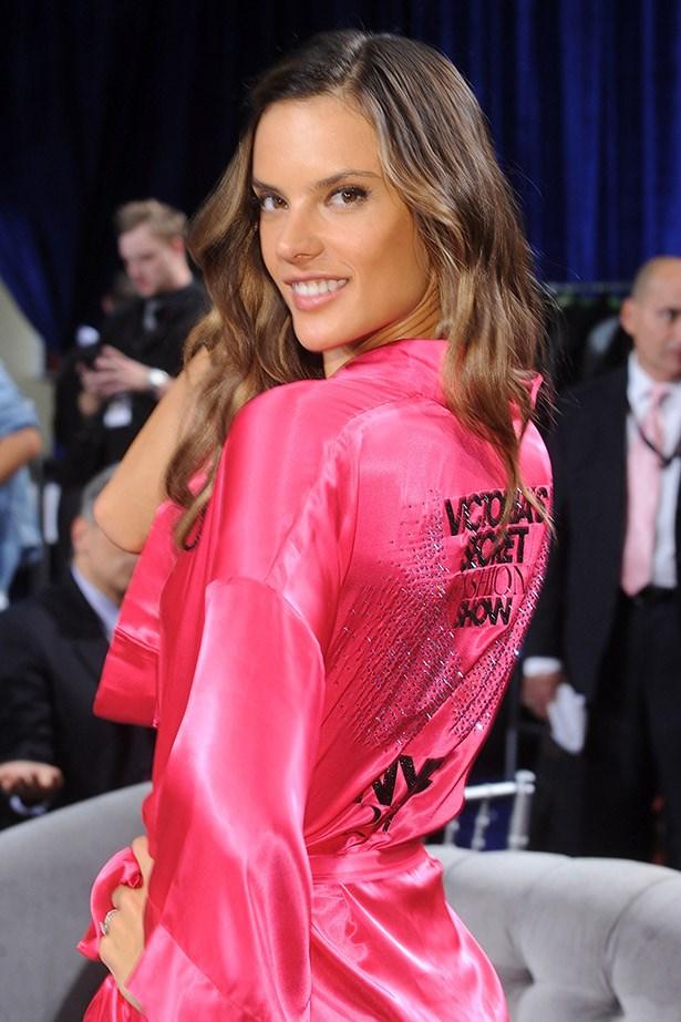 Alessandra Ambrosio backstage at a Victoria's Secret fashion show.