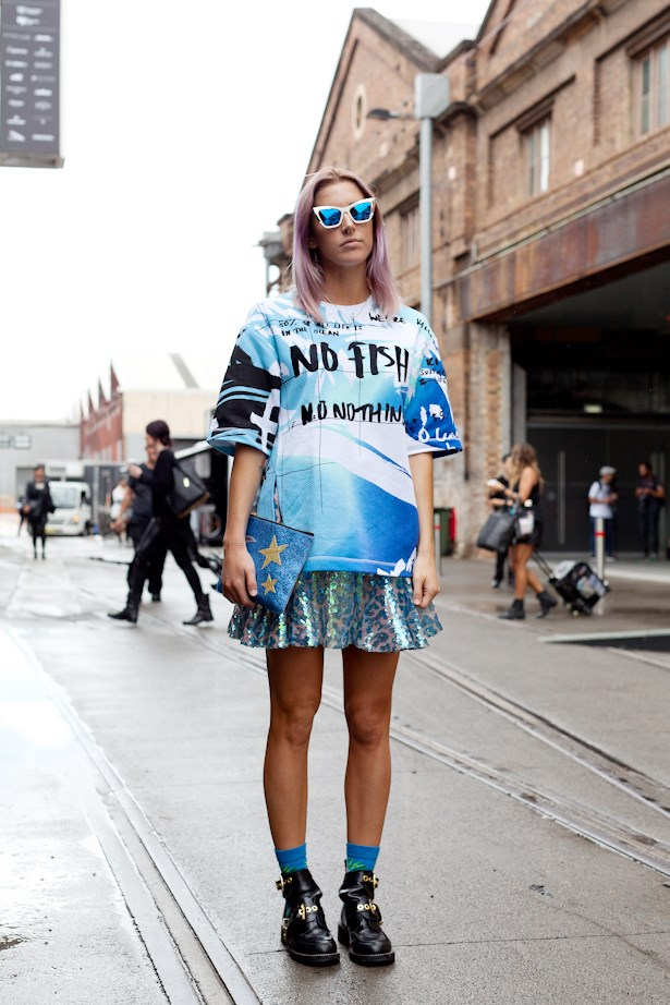 "Kenzo's ""No Fish No Nothing"" motto makes its way to MBFWA, worn with reflector sunnies and Balenciaga boots"