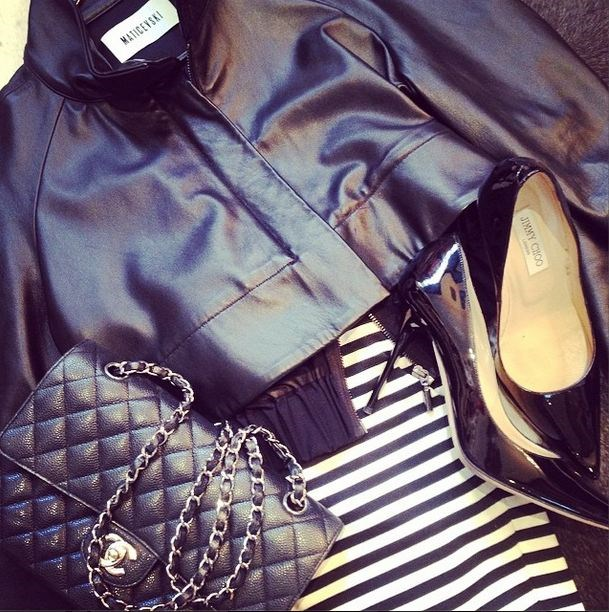 Ricki-Lee posted this shot of her MBFWA look, which includes a Toni Matičevski jacket, Chanel bag and Jimmy Choo pumps.