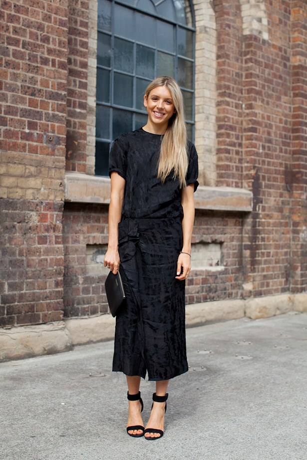 Danielle Barker wears Isabel Marant dress with Alexander Wang heels and Comme Des Garcons clutch.