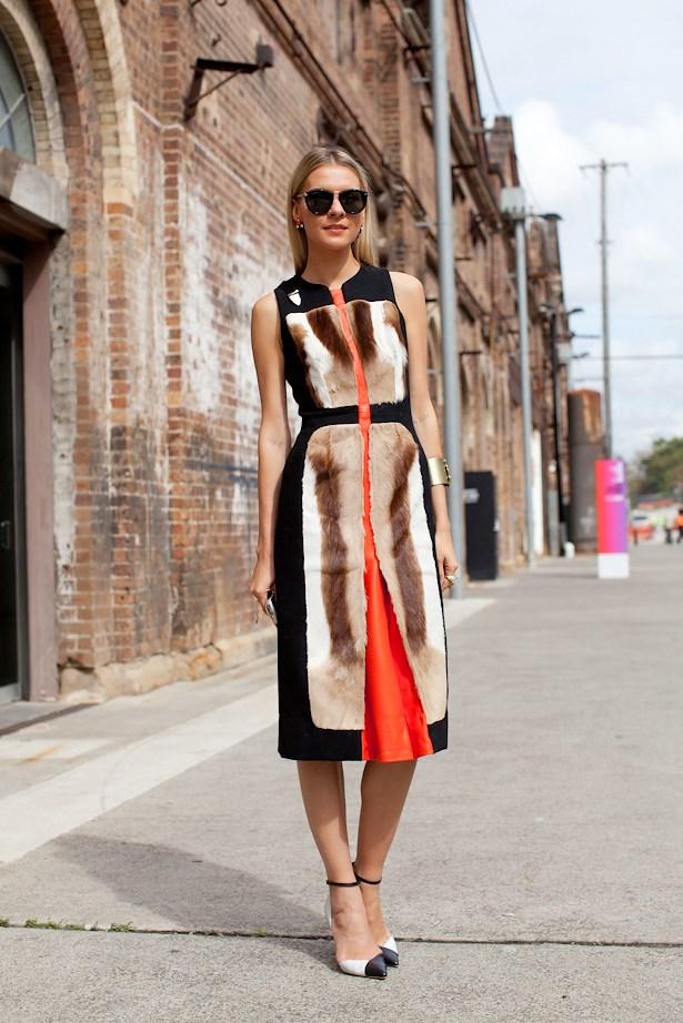 Dasha Gold wears Miu Miu sunglasses, Kaylene Milner dress and Mode Collective heels.