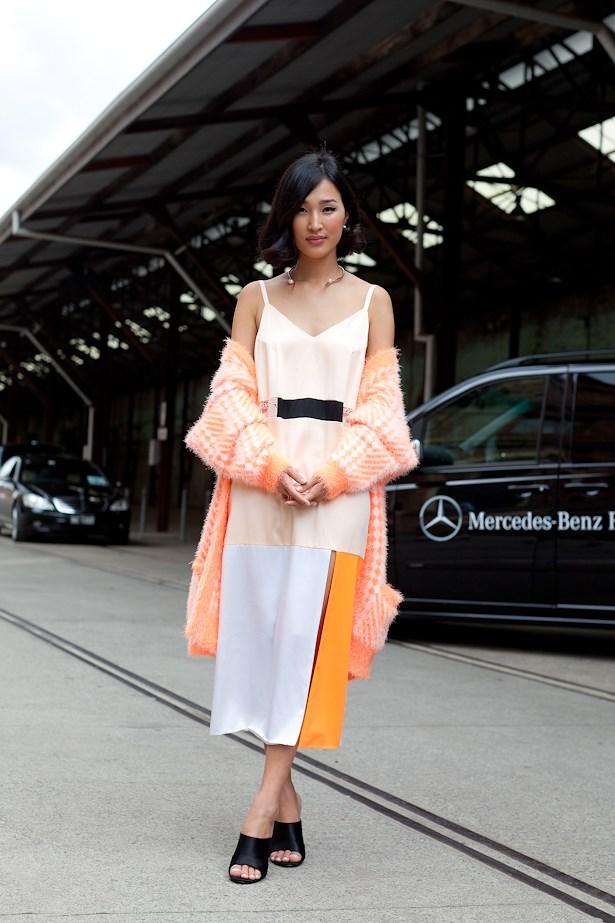 Nicole Warne wearing Karla Spetic knit and dress.
