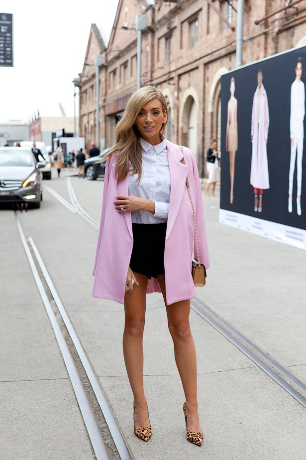 Nadia Bartel wearing Viktoria and Woods jacket, Witchery shirt, Cameo shorts and Tony Bianco heels.