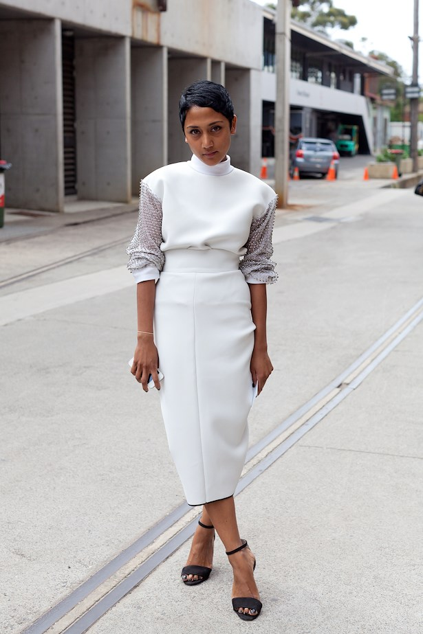 Prasana Lee wearing Toni Maticevski top and skirt.
