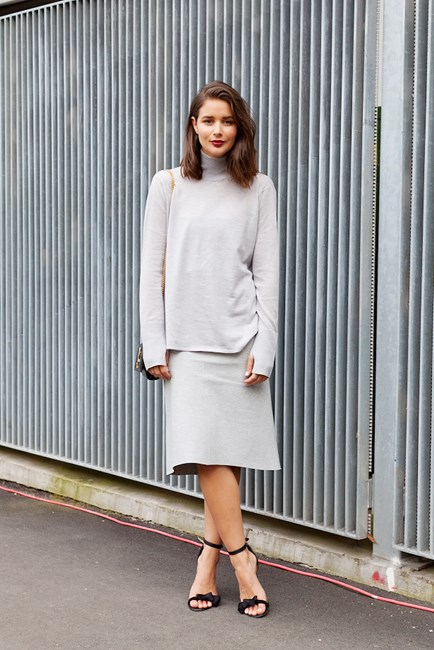 Sara Donaldson wears Bassike knit, YSL bag and Isabel Marant heels.
