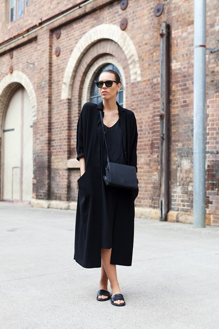 Kaitlyn Ham wears Asos jacket, Topshop dress, Alexander Wang bag and Common Project slides.