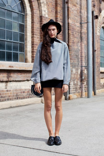 Yvonne Thouroude wears Injury top and American Apparel skirt