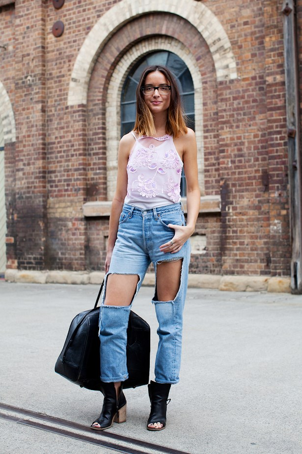 """Jameen Zalfen wears Cutler and Gross glasses, Dyspnea pink top, Bassike white singlet, vintage jeans and Marsell boots. <p>MORE STREET STYLE:<br> <a href=""""http://www.elle.com.au/fashion/street-style/2014/4/mbfwa-street-style/"""">See MBFWA day one looks here </a><br> <a href=""""http://www.elle.com.au/fashion/street-style/2014/4/mbfwa-street-style-day-two/"""">See MBFWA day two looks here</a> <br>"""