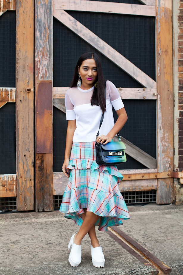 Fabliha Reza wears Christopher Esber top, Zimmermann skirt and Proenza Schouler bag.