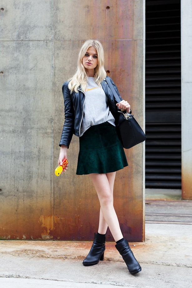 Megan Irwin wears Custom jacket, vintage Nike tee, Topshop skirt, Acne boots and Givenchy bag.