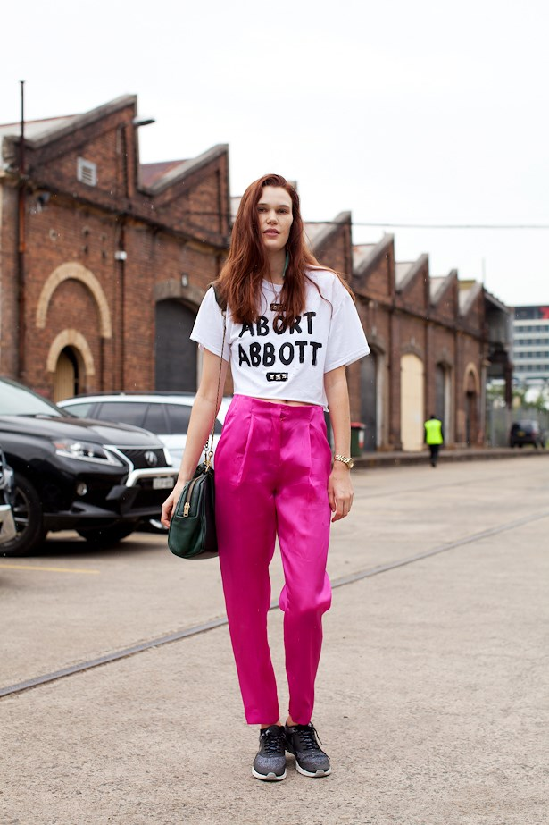 Milly Brown wears Karla Spetic pants, Nike sneakers and Deadly ponies bag.
