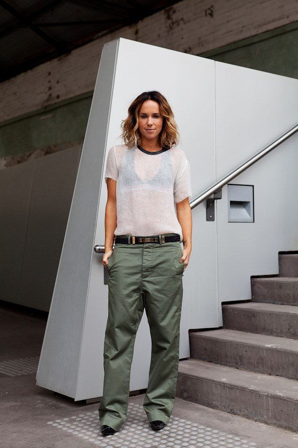Pip Edwards wears IRO top and Globe pants.