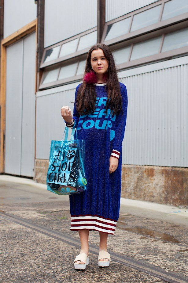 Morgan Brennan wears Merci Beau Coup dress, Poms earrings and Gorman flatforms.