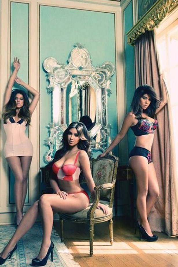 This image, from Kourtney Kardashian's facebook page, shows the girls first flirt with lingerie back in 2012. Click through to see how their design skills have evolved.