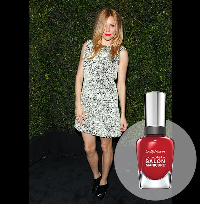 "Scarlet is the go-to lip hue of British actress Sienna Miller, worn with a sequinned Chanel dress at the Chanel Charles Finch Pre-Oscar Dinner. <p> <em>Right Said Red, RRP $14.95</em><br> <a href=""http://en-au.sallyhansen.com/en-au/products/nails/nail-color/complete-salon-manicure-0"" target=""_blank"">Find your colour match from the Complete Salon Manicure Range.</a>"