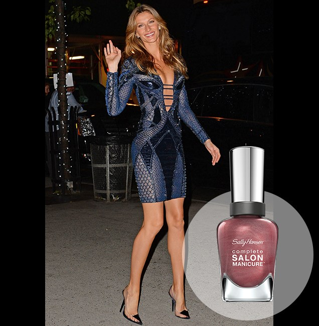 "For a night out in NYC, Gisele Bundchen goes for glossy pink to zest up a stunning blue dress. <p> <em>Rasin the Bar, RRP $14.95</em><br> <a href=""http://en-au.sallyhansen.com/en-au/products/nails/nail-color/complete-salon-manicure-0"" target=""_blank"">Find your colour match from the Complete Salon Manicure Range.</a>"