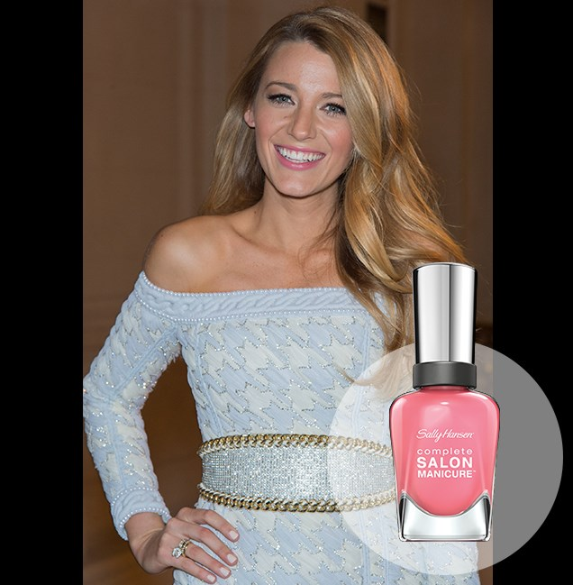 "Pairing a powder-blue, off-the-shoulder frock with pretty pink lips at the Shangri-La Hotel in Paris, Blake Lively glows with youthful radiance. <p> <em>I Pink I Can, RRP $14.95</em><br> <a href=""http://en-au.sallyhansen.com/en-au/products/nails/nail-color/complete-salon-manicure-0"" target=""_blank"">Find your colour match from the Complete Salon Manicure Range.</a>"