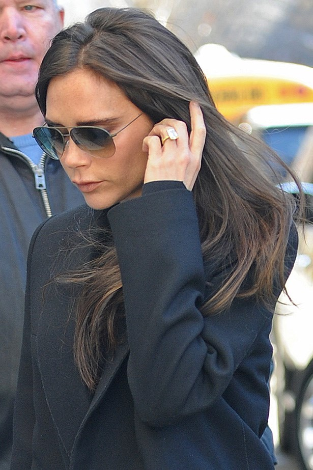 British designer Victoria Beckham gets about town with her long-locks maintained at all times.