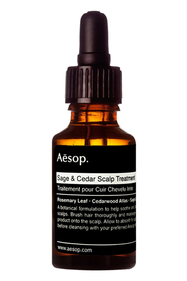 "<p><strong>Treat</strong></p> <p>If the scalp is flaky and irritated, calm it with a pre-shampoo treatment oil. It'll help to lift dirt and impurities and sooth the scalp post-exfoliation.</p> Sage & Cedar Scalp Treatment, $35, Aesop, <a href=""http://aesop.com"">aesop.com</a>"