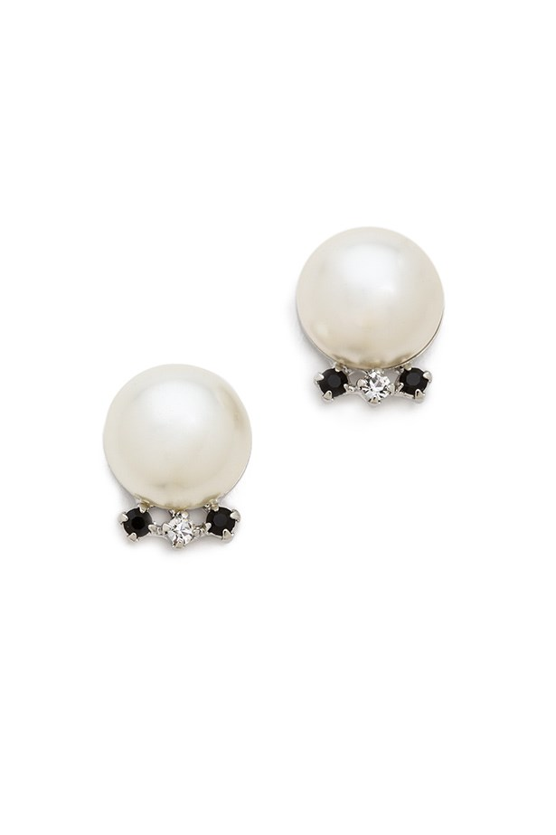 "Earrings, $210, Tom Binns, <a href=""http://www.shopbop.com/certain-ratio-pearl-stud-earrings/vp/v=1/1556189472.htm?fm=search-shopbysize"">shopbop.com</a>"