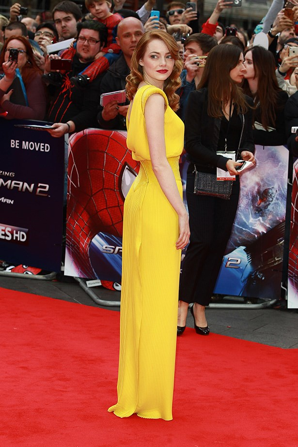 Emma Stone in a canary yellow Atelier Versace gown.