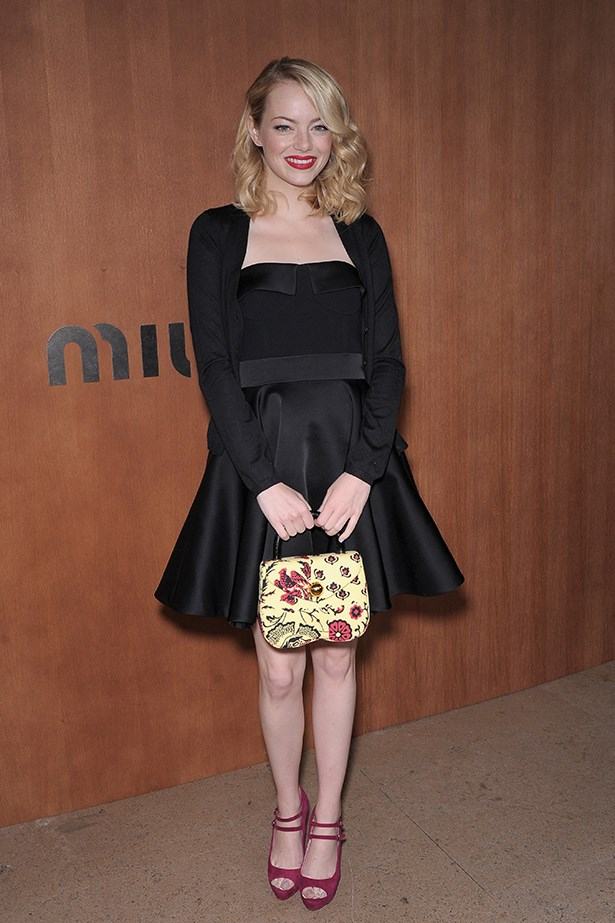 Emma Stone wearing Miu Miu in Paris.