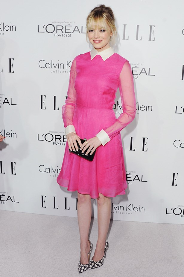 Emma Stone looks pretty in pink at <em>ELLE</em>'s 'Women in Hollywood' event.