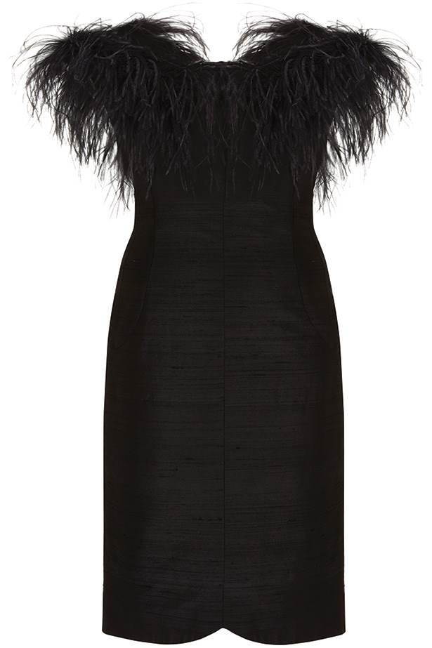 Black feather dress, $260, Kate Moss for Topshop.