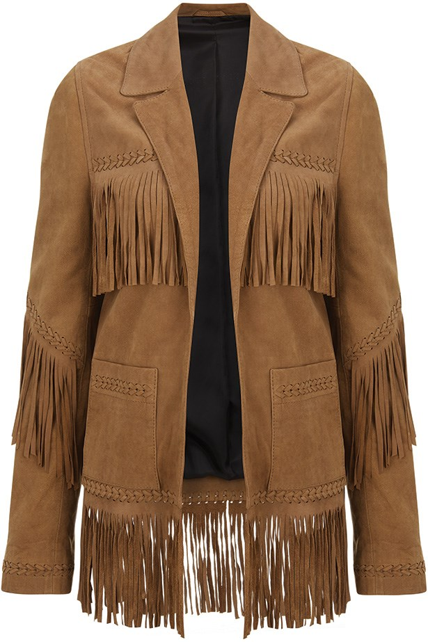 Kate Moss for Topshop fringe leather jacket.