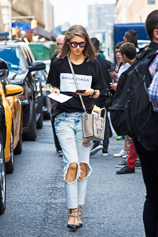 "<p>""This look ticks off all the cool-girl boxes: bleached boyfriend denim, a Céline cross-body bag and Balenciaga sweater.""</p>"