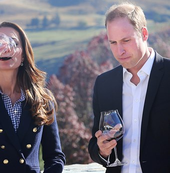 Prince William and the Duchess of Cambridge sipping wine