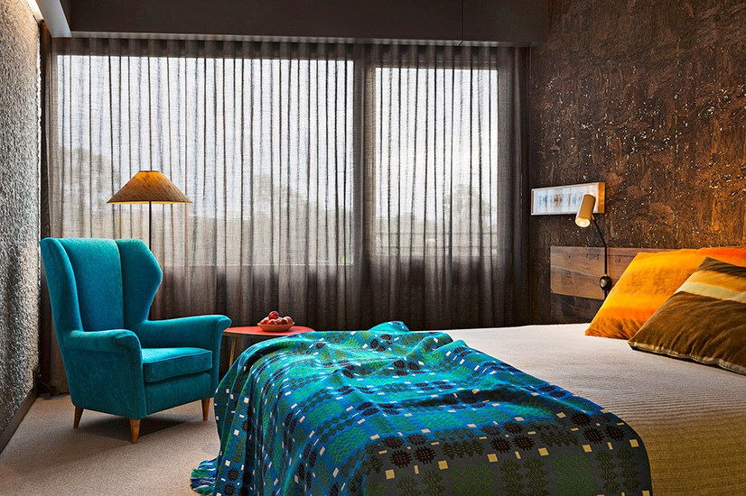 """<p>Created by three different architecture firms (including Fender Katsalidis Architects – who also built the Museum of Old and New Art – March Studio and Oculus) with the handiwork of dozens of other makers and artists woven in, Hotel Hotel is an homage to handmade, up-cycled, repurposed luxury. But don't let the granola-ethos fool you, there is nothing hippy dippy about the mid-century-meets-postmodern aesthetic, or the guests hanging out there.</p> <p><a href=""""http://www.hotel-hotel.com.au"""">hotel-hotel.com.au</a></p>"""
