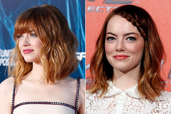 Emma Stone wowed at <em>The Amazing Spider-Man 2</em> premiere in NYC with her new blunt-cut fringe. The star had been working longer, face framing layers only 10 days before.