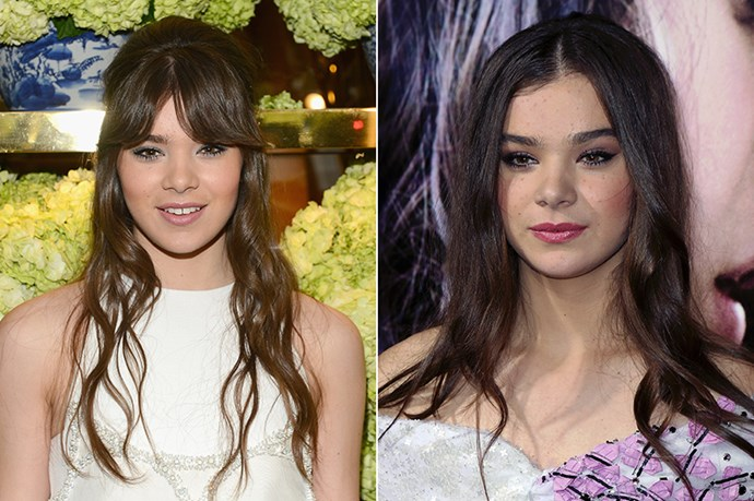 Hailee Steinfield shows us how to work longer bangs at a store opening in January this year. She acquired a fringe shortly after the promo-tour for her film, <em>Romeo & Juliet</em> late last year.
