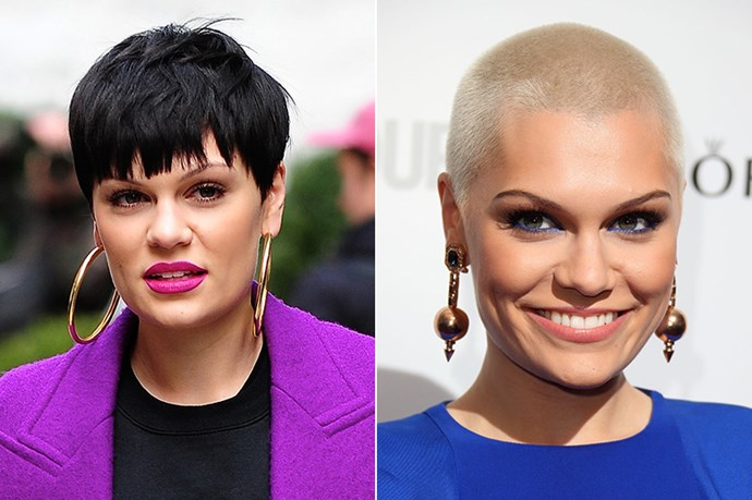 Unlike the other celebs in this gallery, Jessie J is <em>growing </em>her fringe, rather than cutting one in.