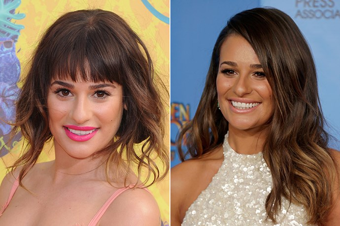 Lea Michele's fringe has been forehead-hovering since mid-2013. Here, she attends last year's 70th Annual Golden Globes with a deep side-part and at this year's Nickelodeon Kids Choice Awards.