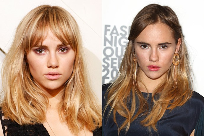 British model, Suki Waterhouse burst onto the scene in 2010 sans her moniker 'do…her cool-girl fringe came later, and now she'd unrecognisable without it.